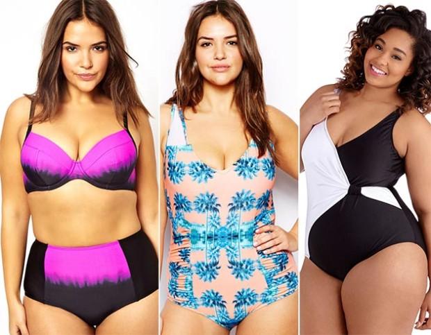 summer_2014_plus_size_outfit_ideas_bicolor_swimwear